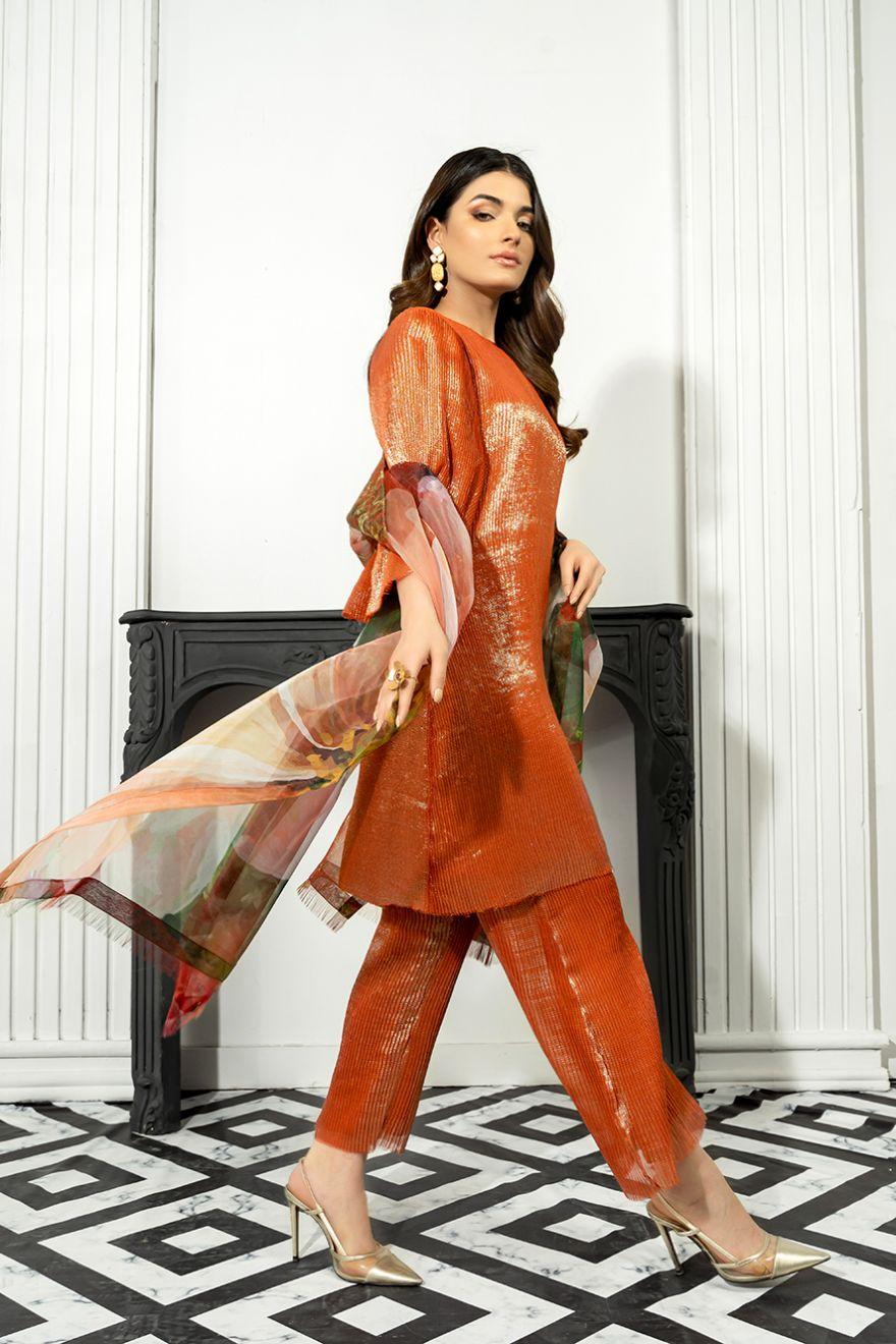 shimmer orange eid dress