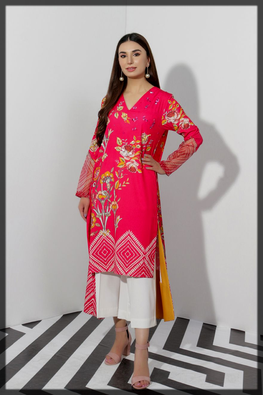 shocking pink eid suit for women