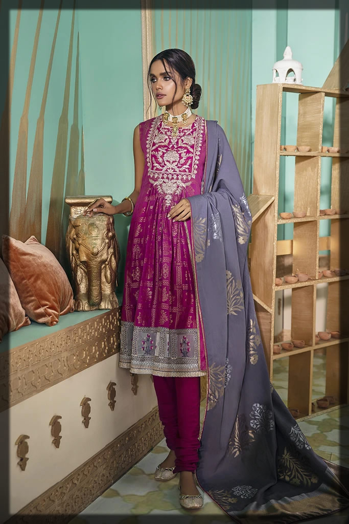 shocking pink embroidered lawn suit