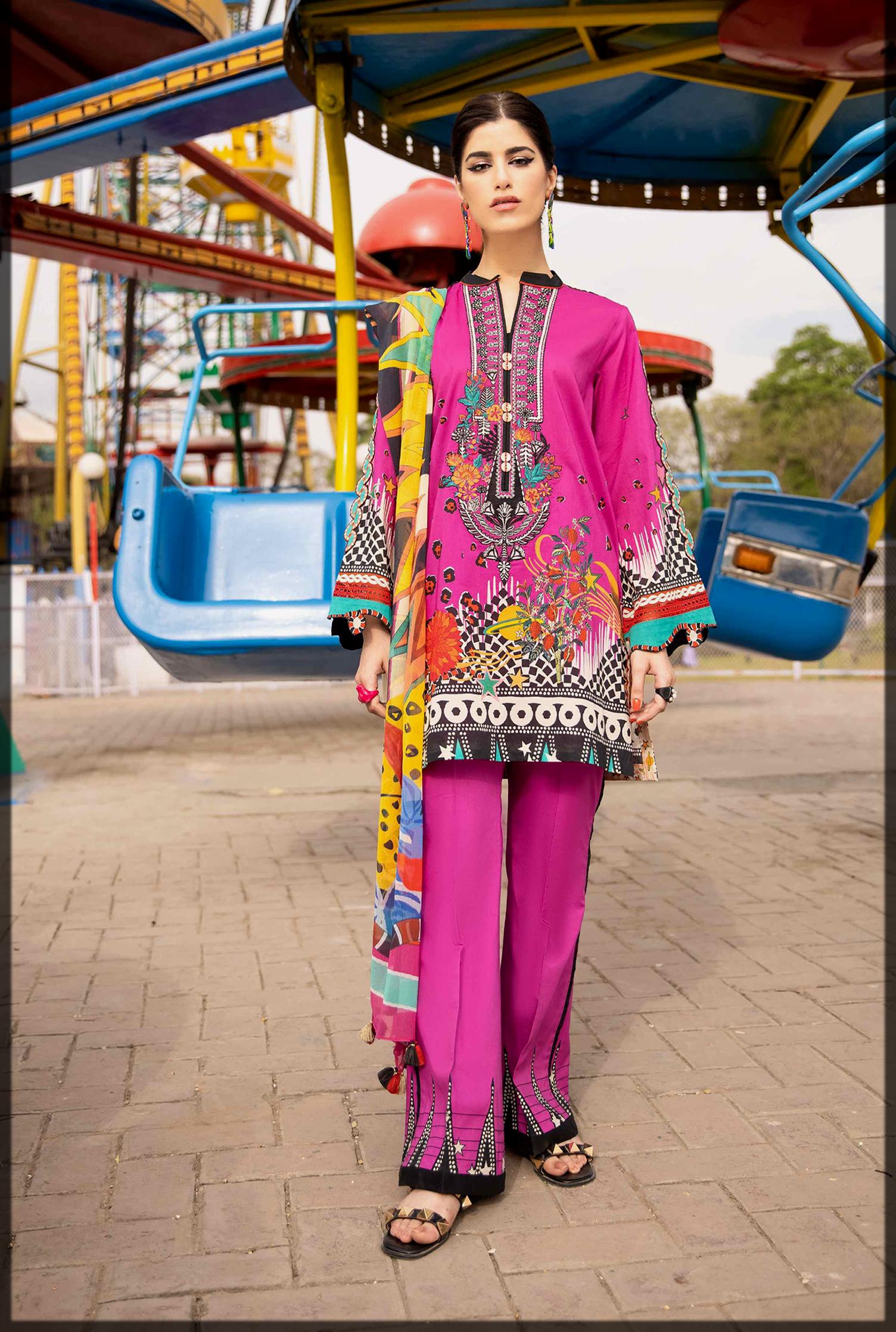 shocking pink sapphire eid dress
