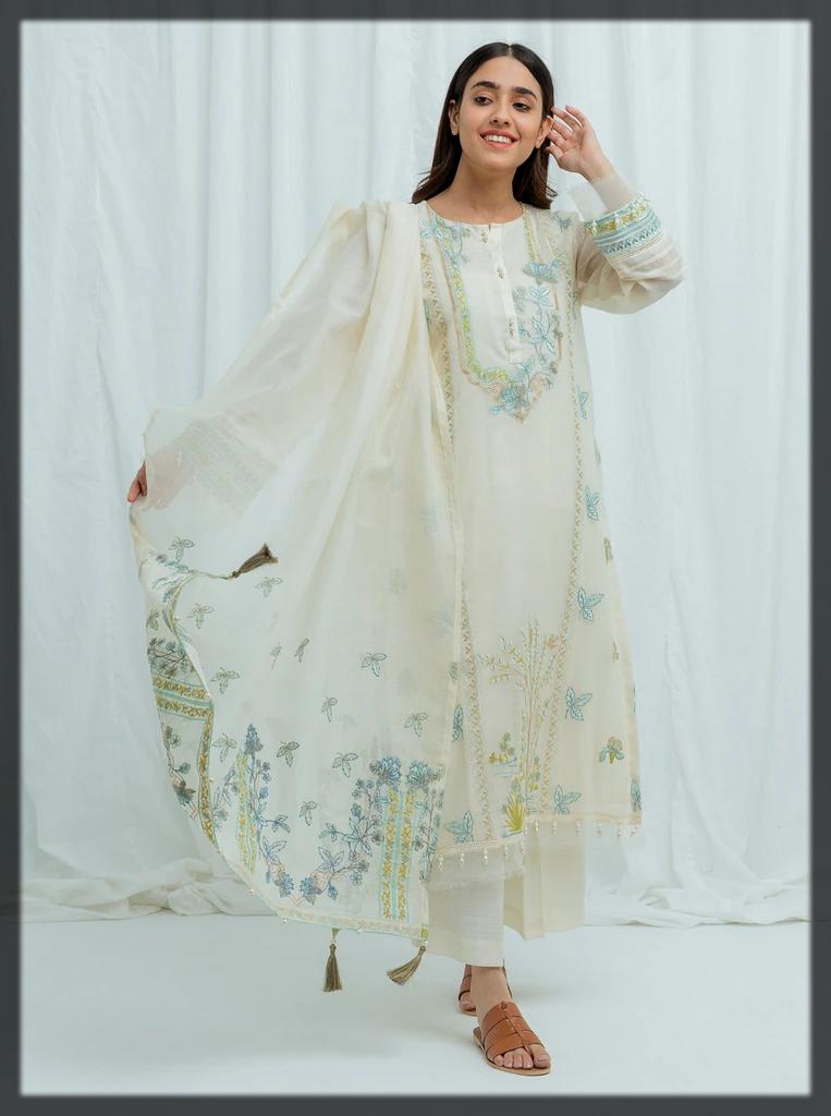 sleek white 3pc summer eid suit