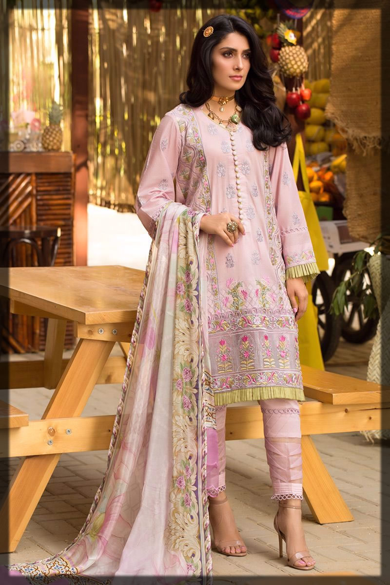 soft lilac embroidered lawn suit