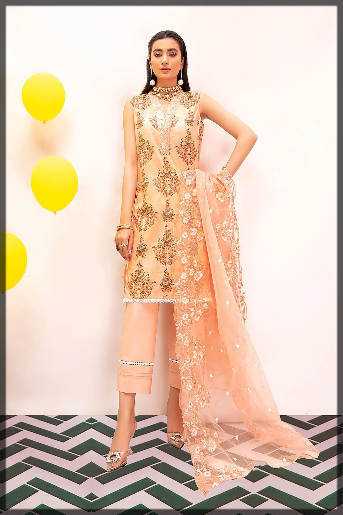 soothing peach embroidered dress