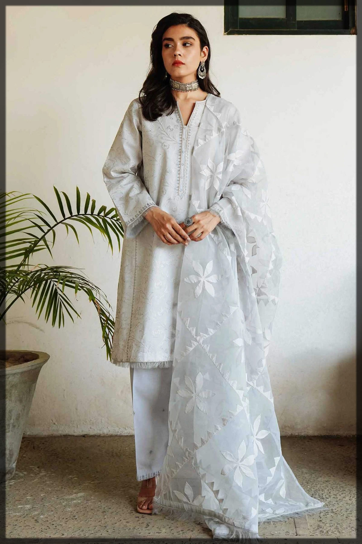 steel blue embroidered lawn suit