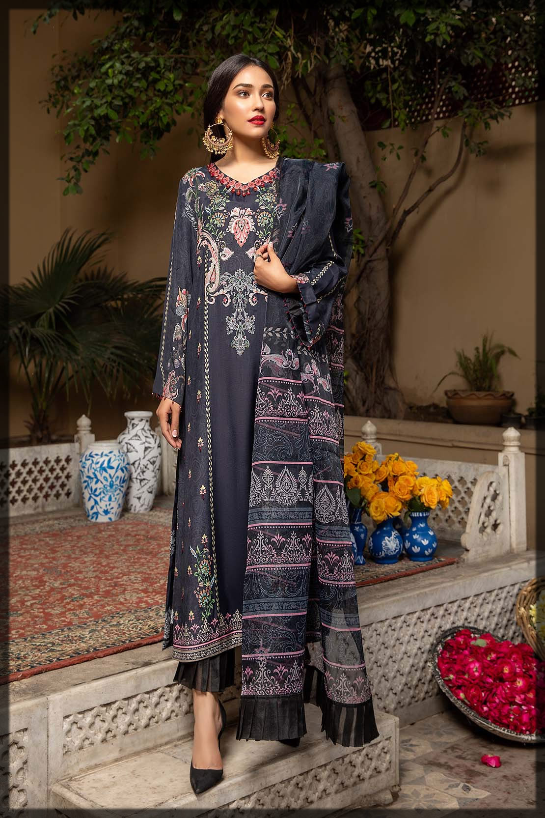 steel grey embroidered grip suit