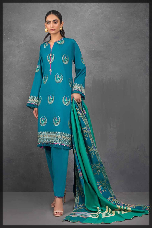 teal blue lawn suit