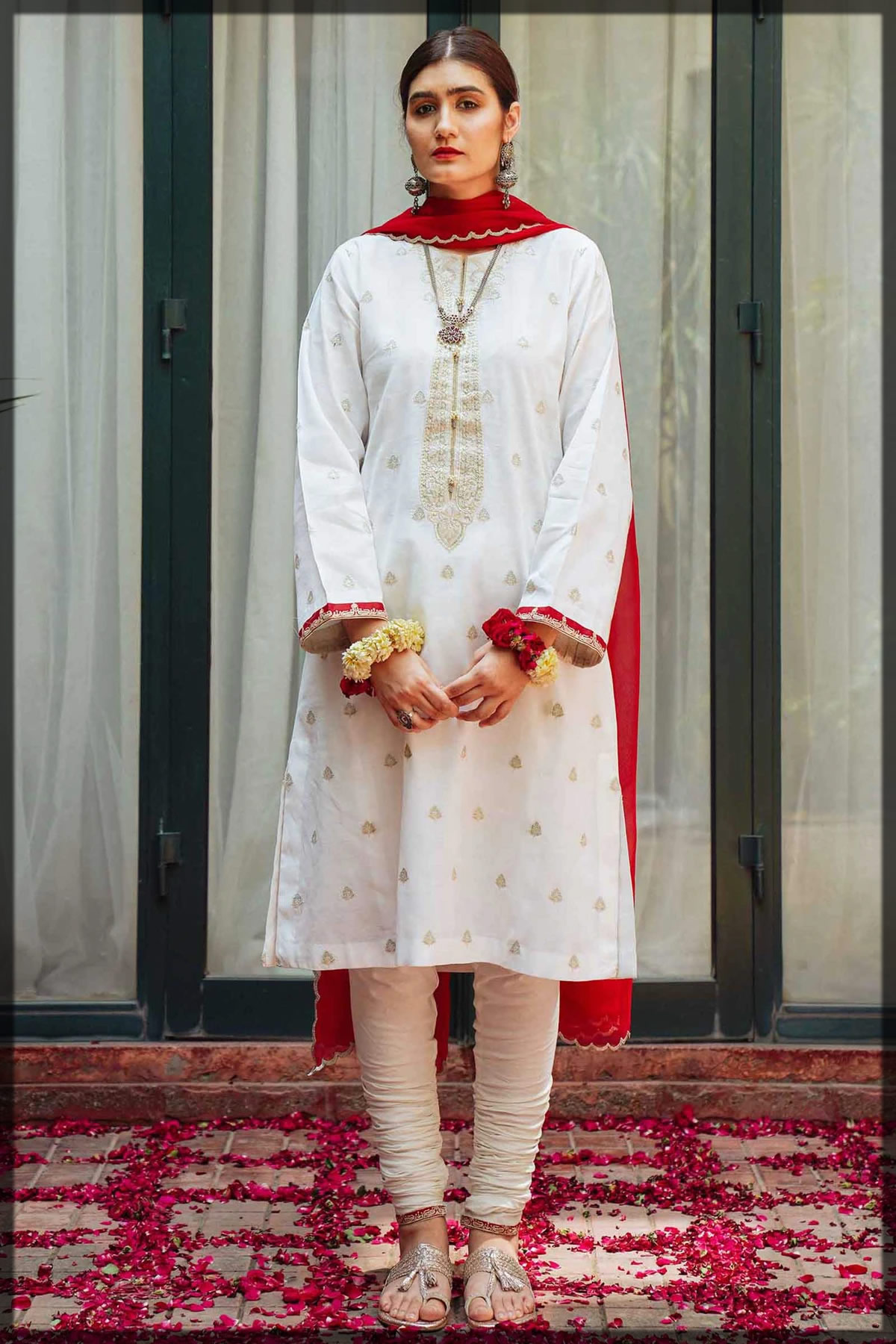 traditional red and white lawn suit