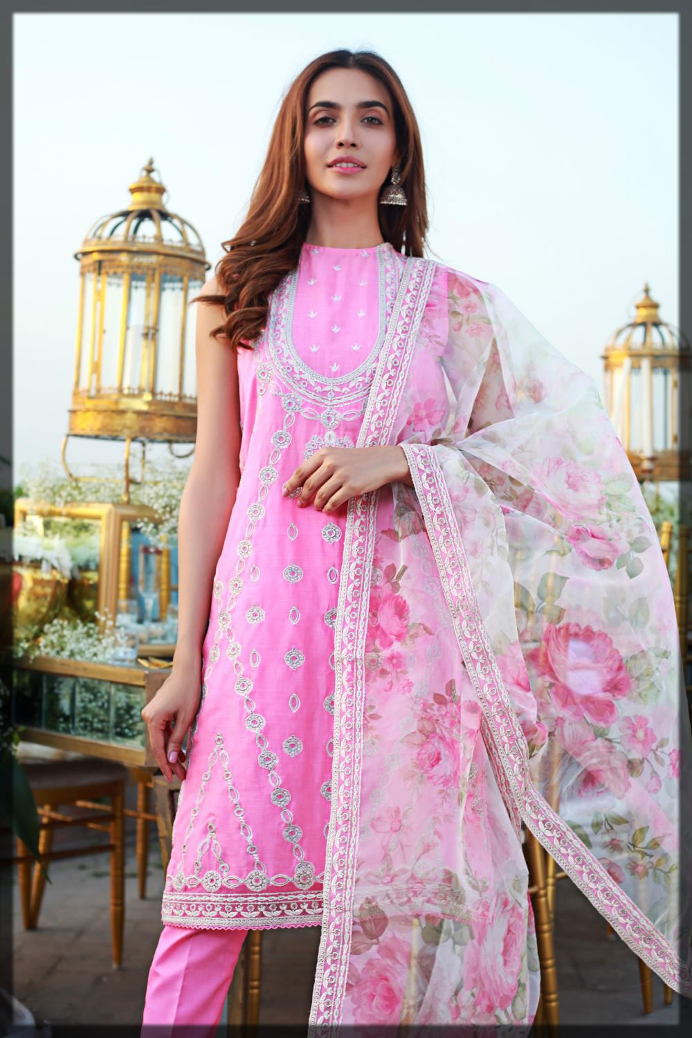 white and pink eid dress