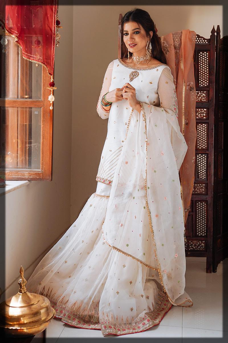 white cotton net gharara dress