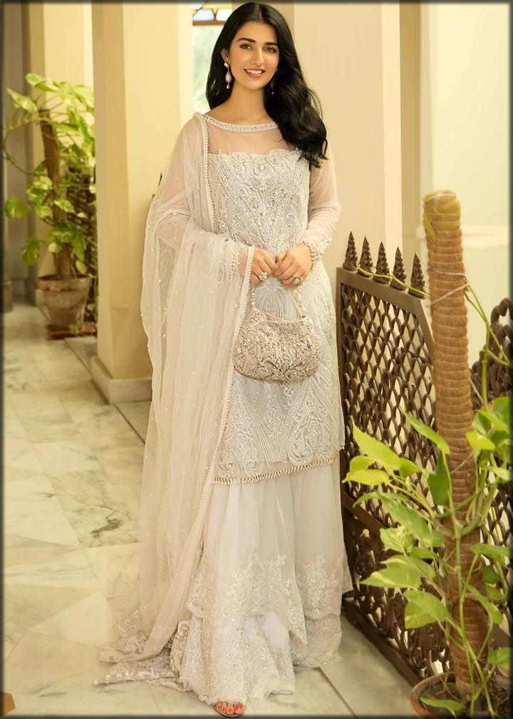 white designer chiffon dress