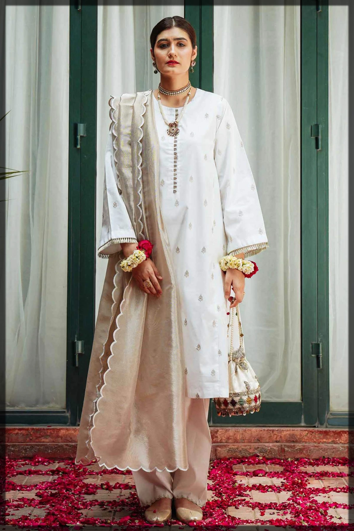 white embroidered lawn suit