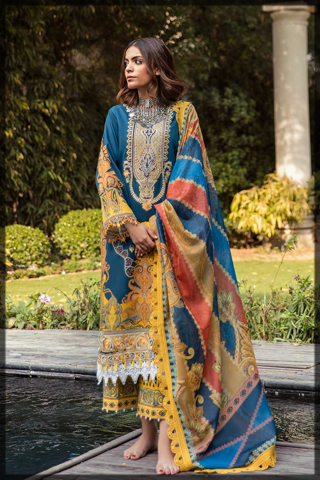 yellow and blue eid dress