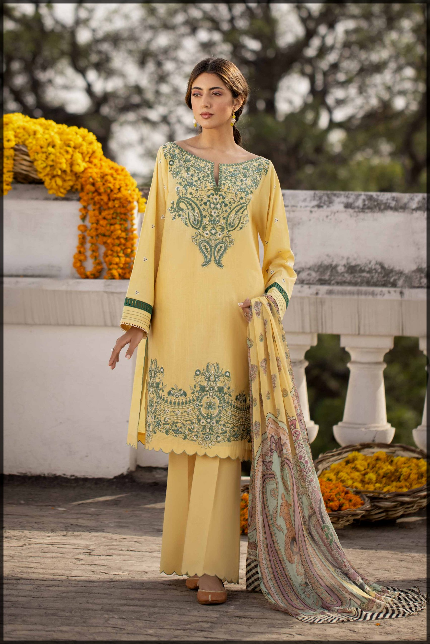 yellow and green summer eid suit