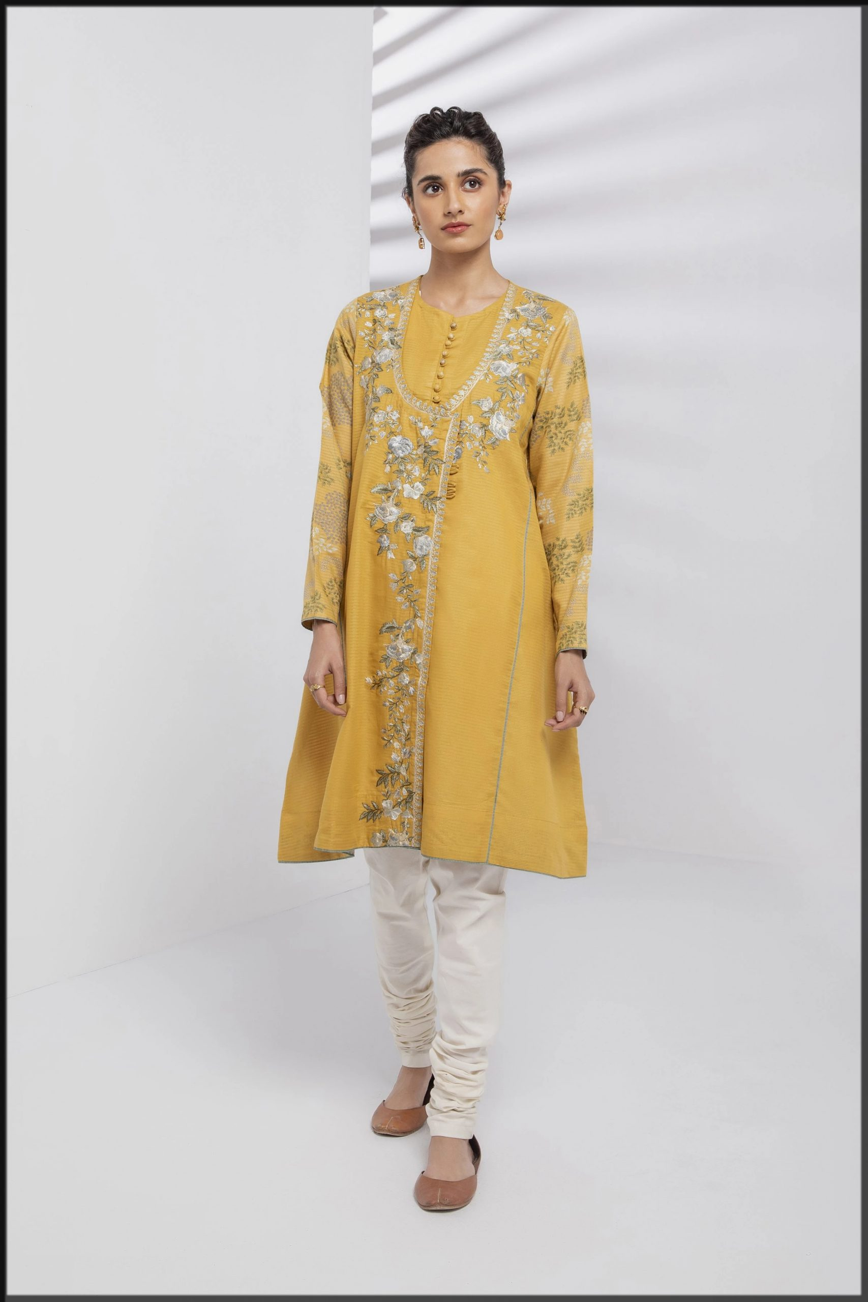 yellow angrakha style kurta for women