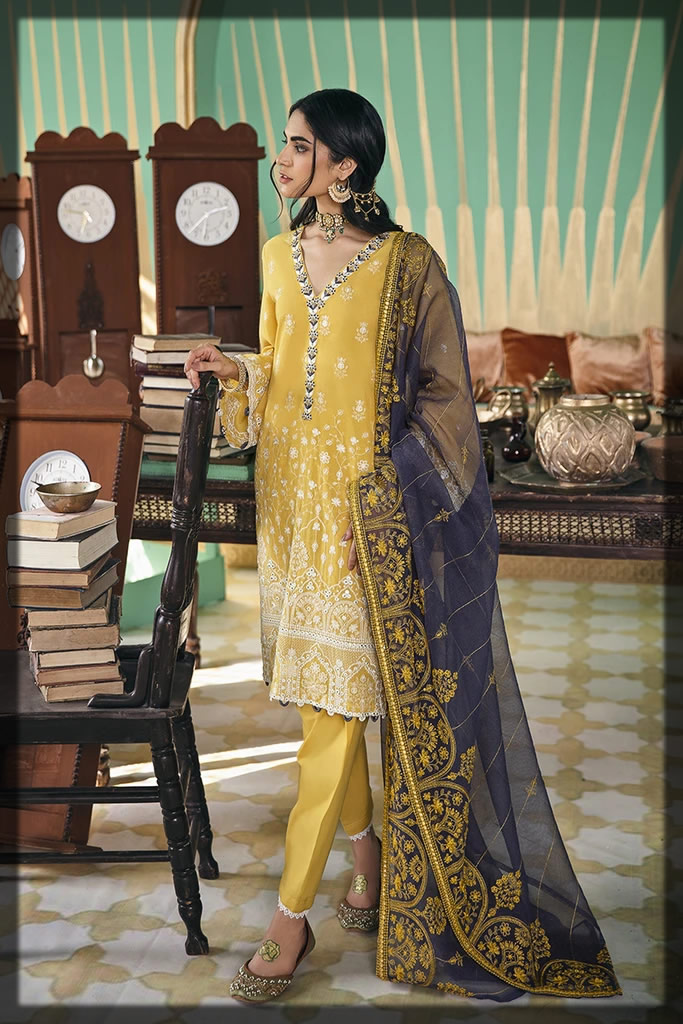 yellow embriodered lawn dress