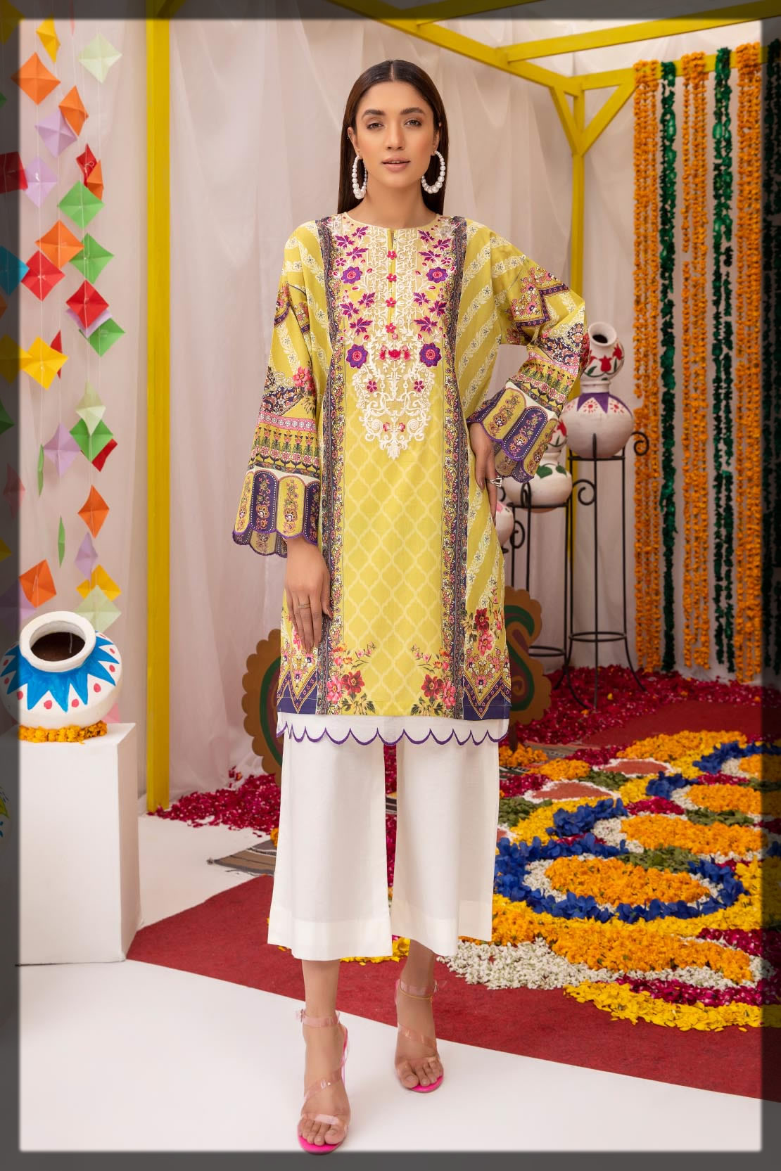 yellow embroidered lawn shirt