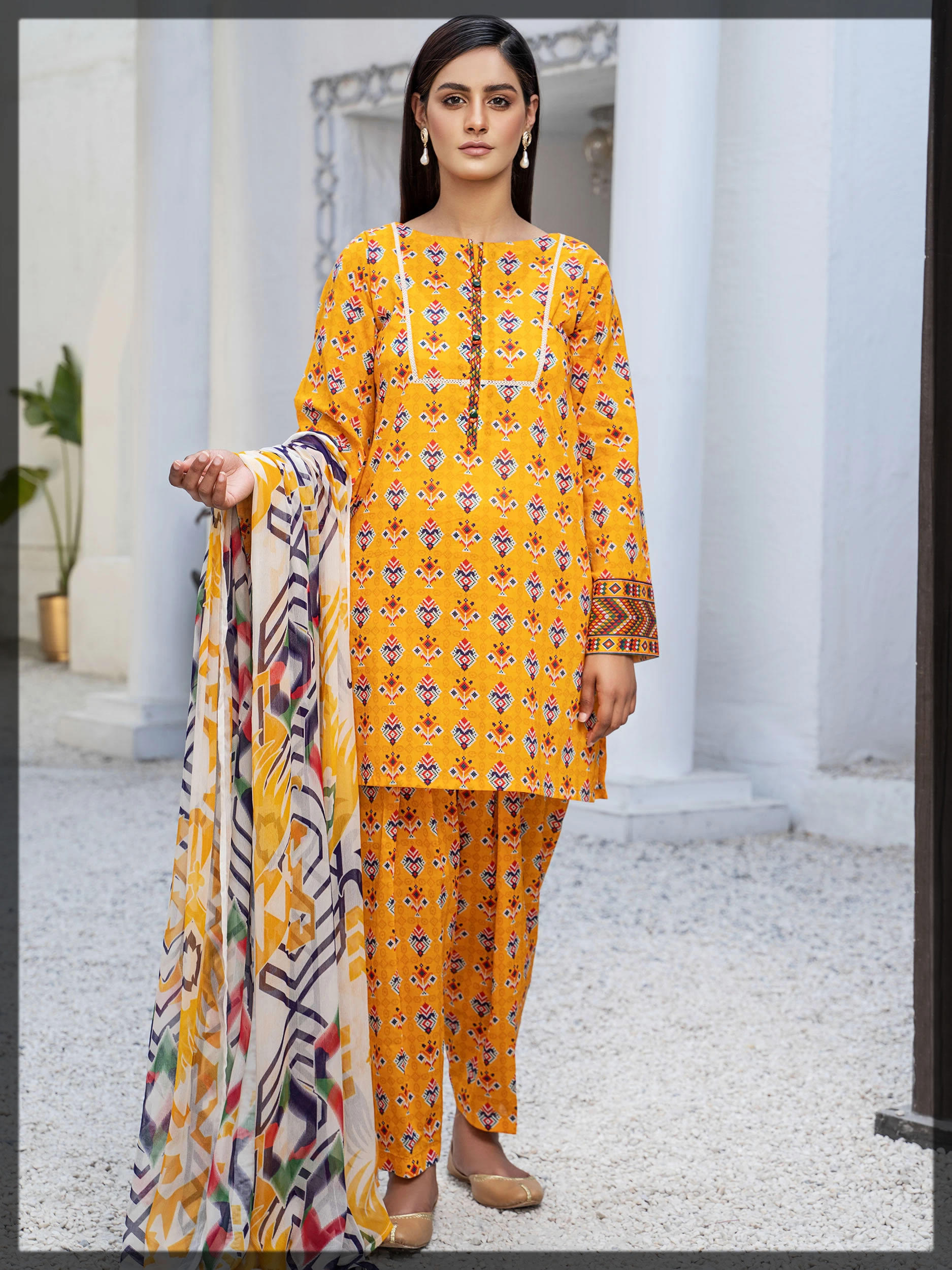 yellow printed lawn suit