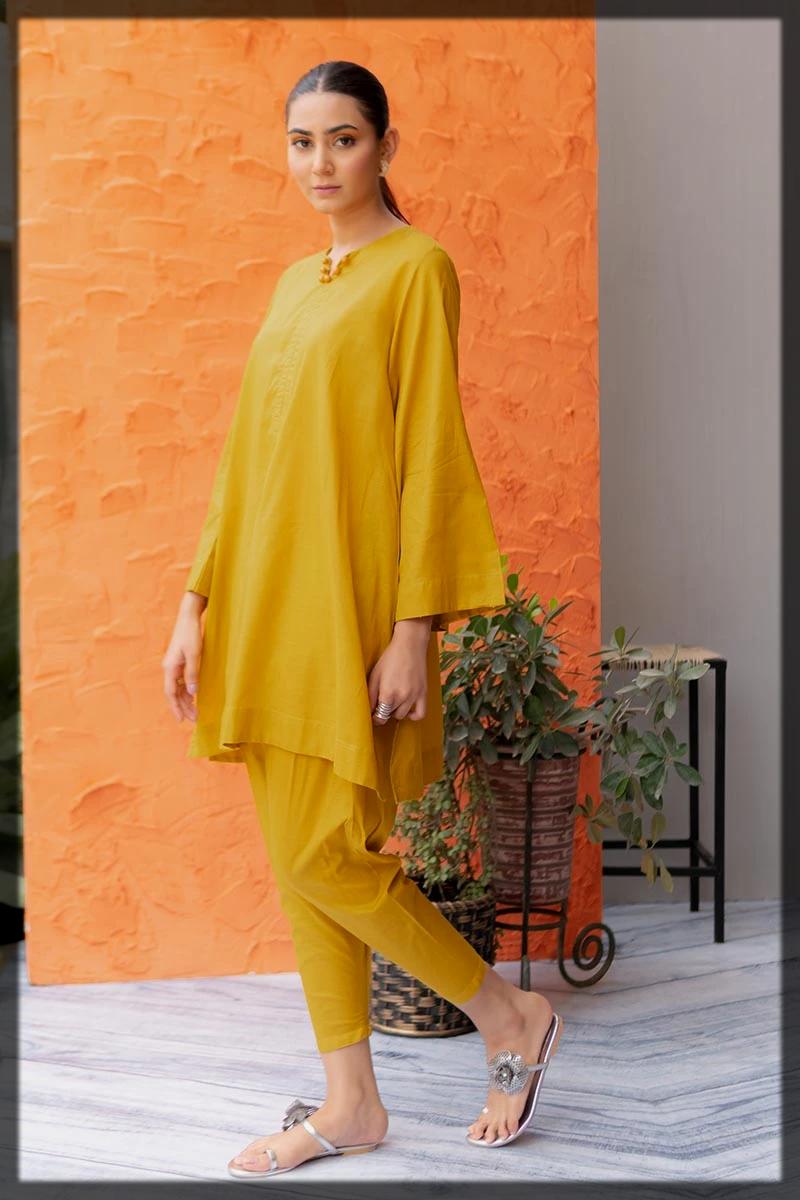 yellow summer kurta for women