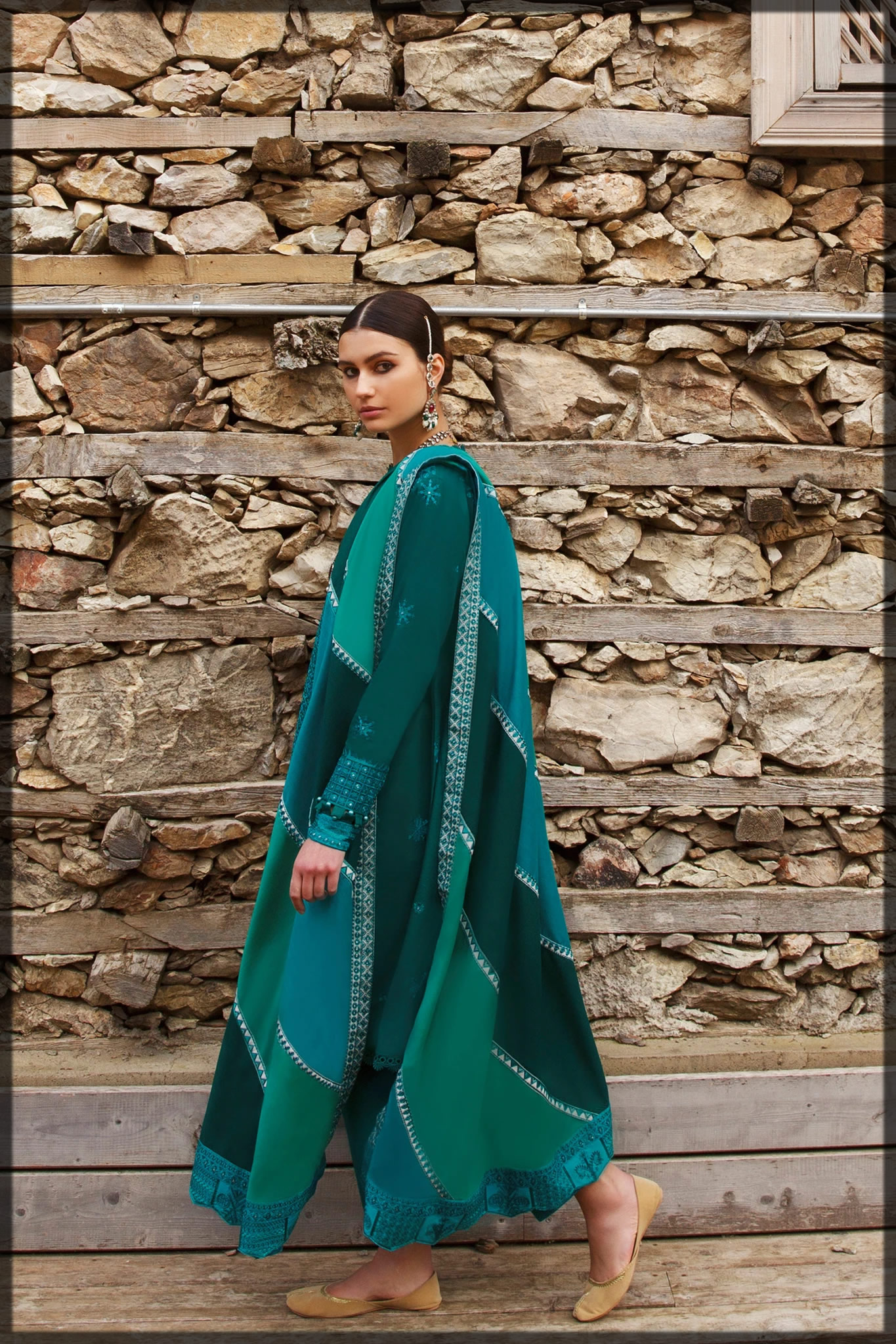 Beautiful Emerald Green Embroidered Lawn Suit