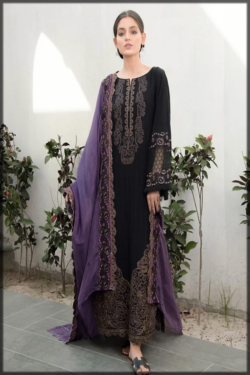 Black Embroidered Textured Lawn Suit