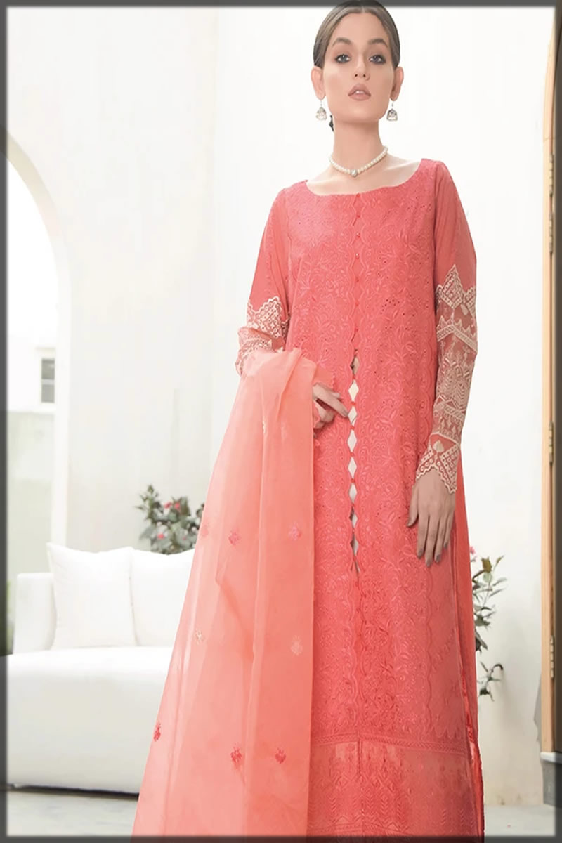 Coral Pink Embroidered Lawn Suit