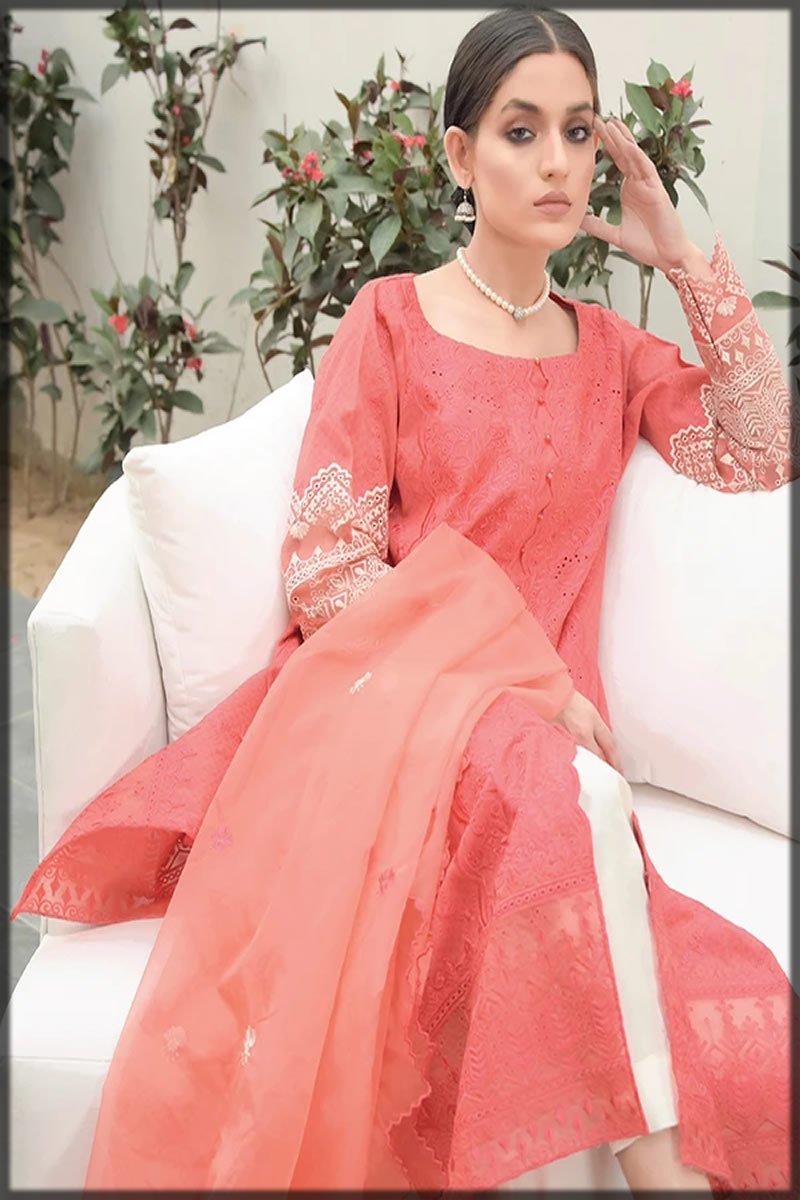 Embroidered Coral Pink Lawn Suit