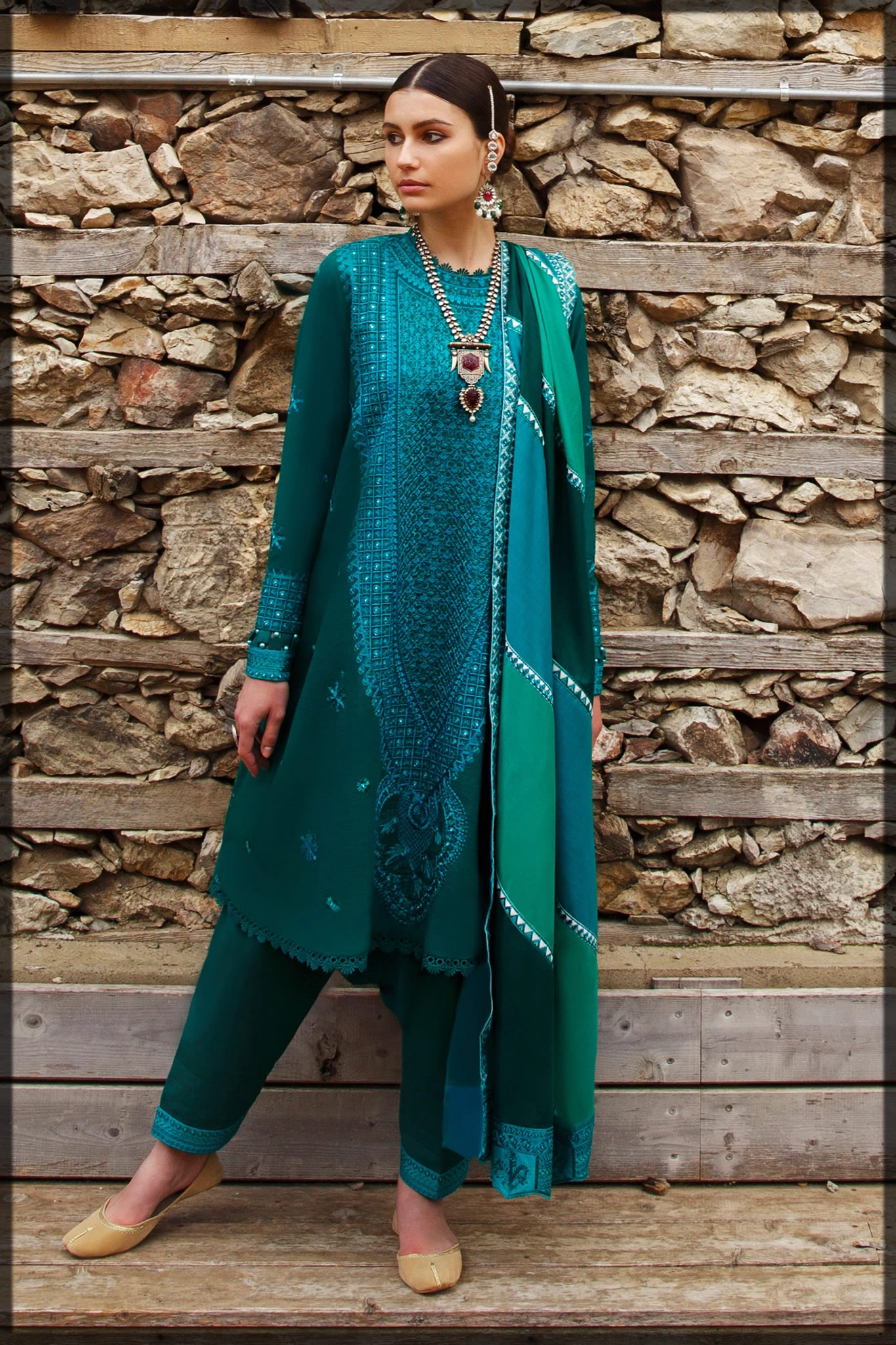 Emerald Green Embroidered Lawn Suit