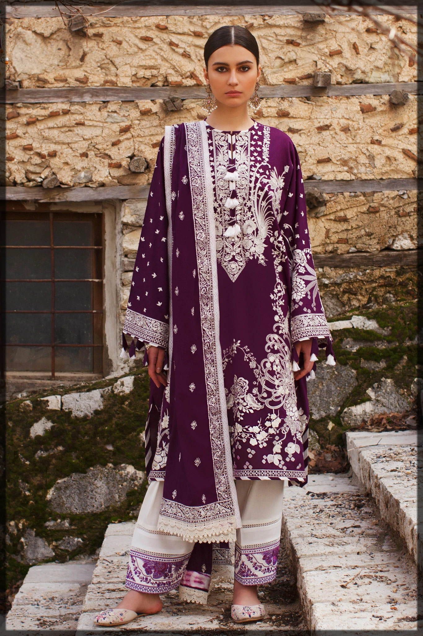 Magenta embroidered lawn suit