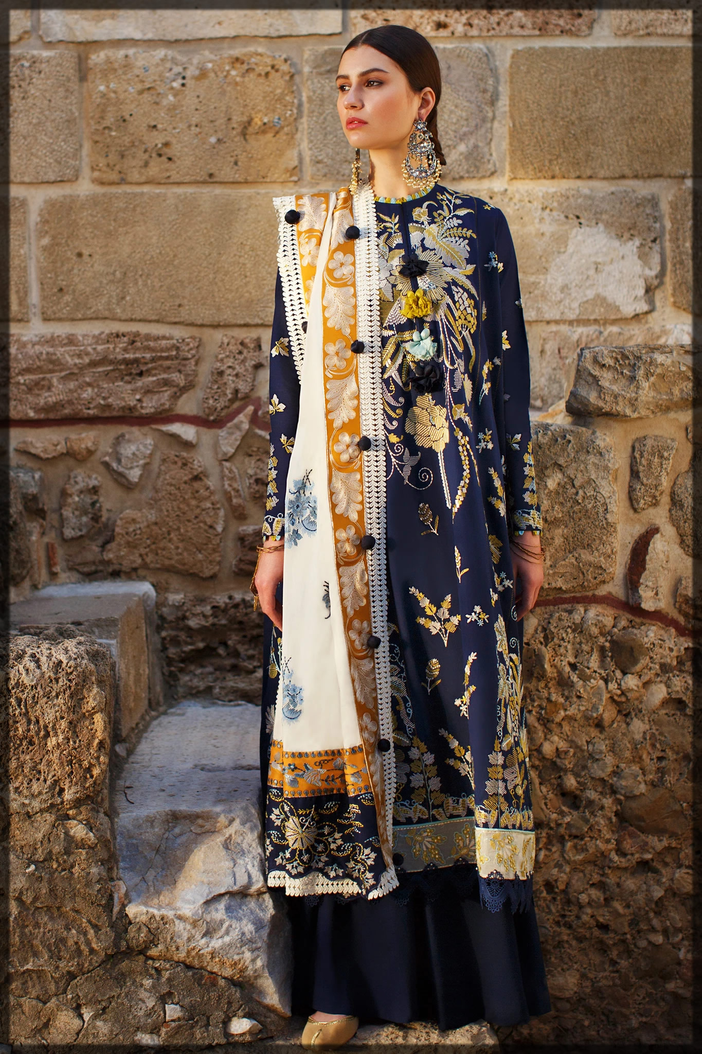 Sapphire Blue Lawn Embroidered Suit