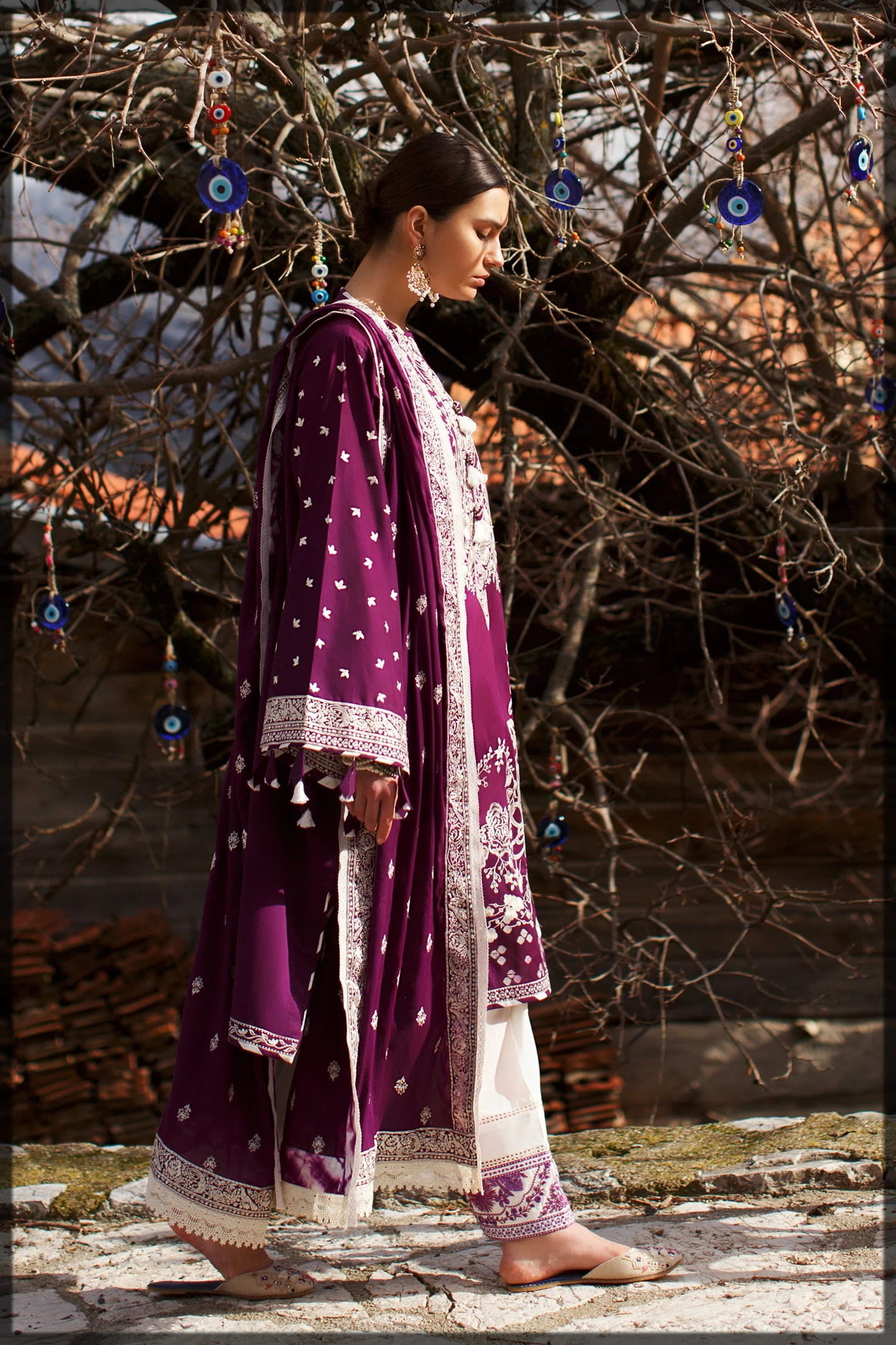 Vibrant Magenta embroidered lawn suit