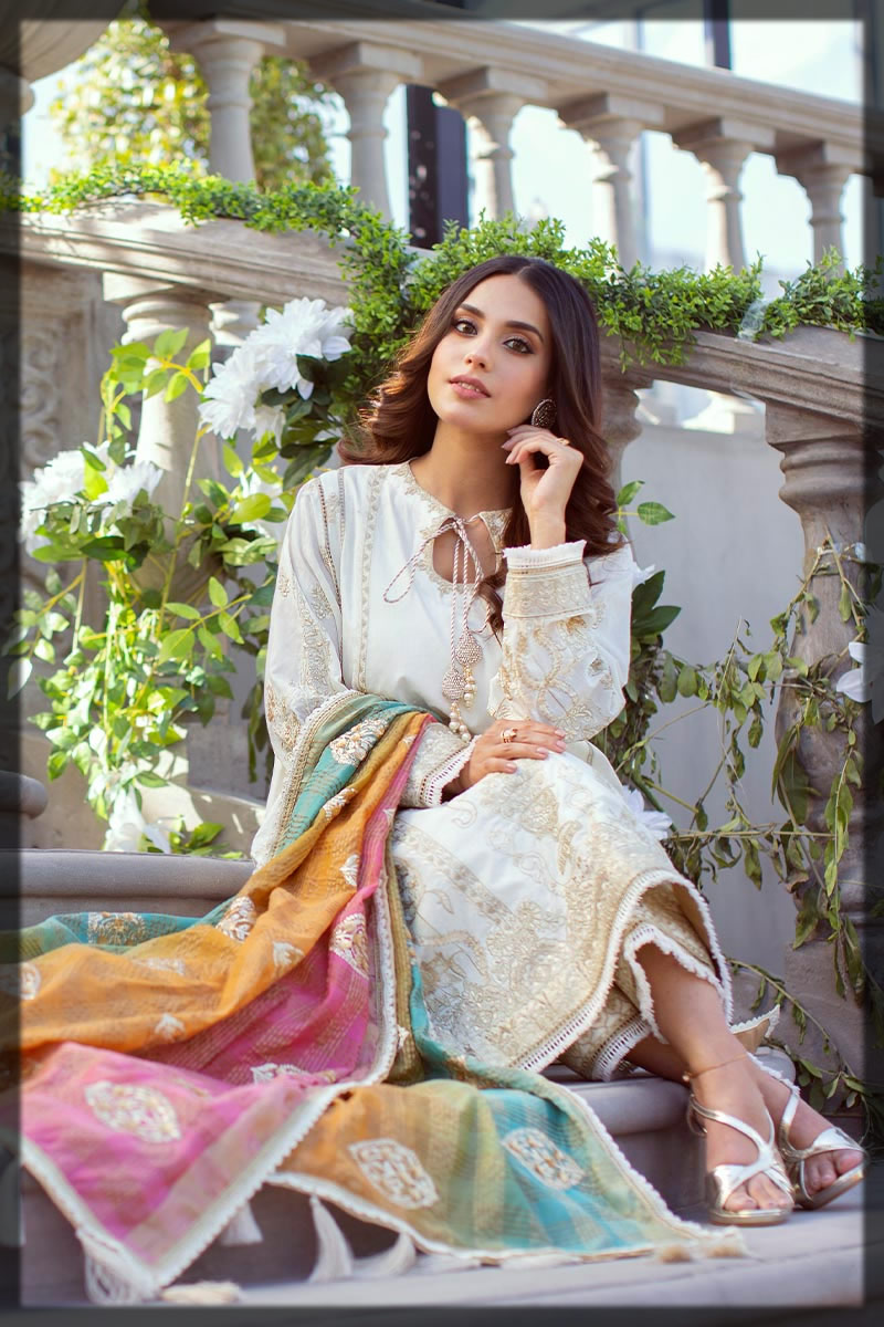 beautiful white embroidered lawn suit