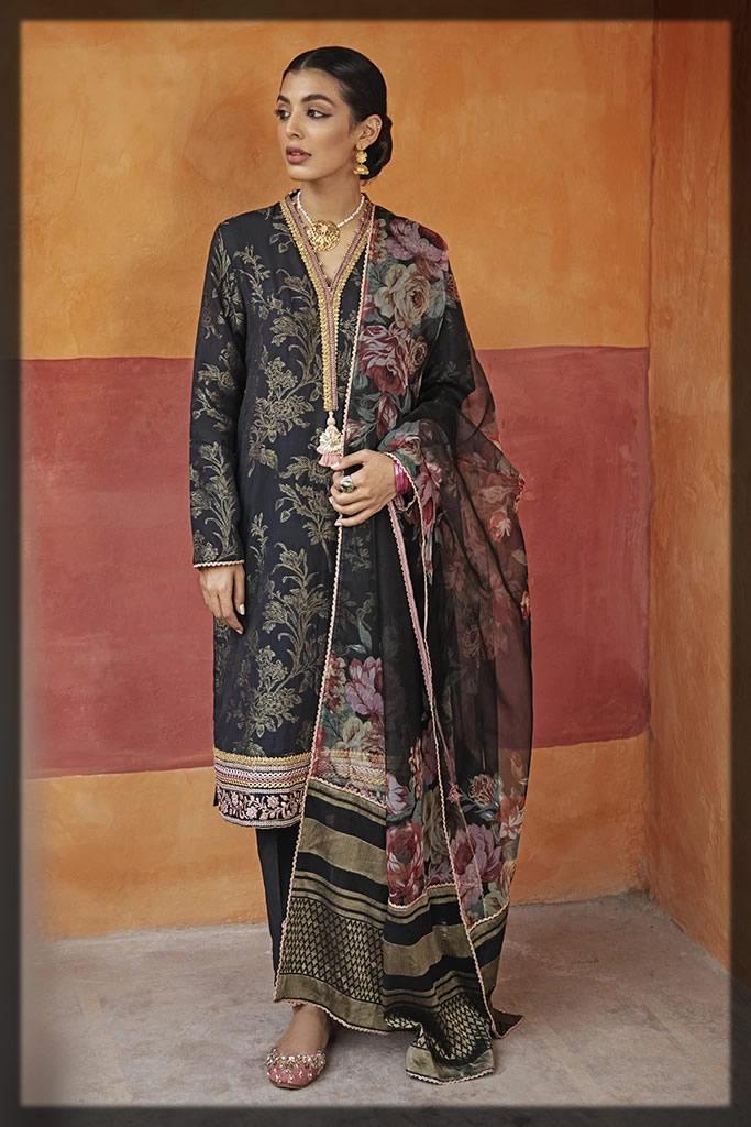 black jacquard dress for eid