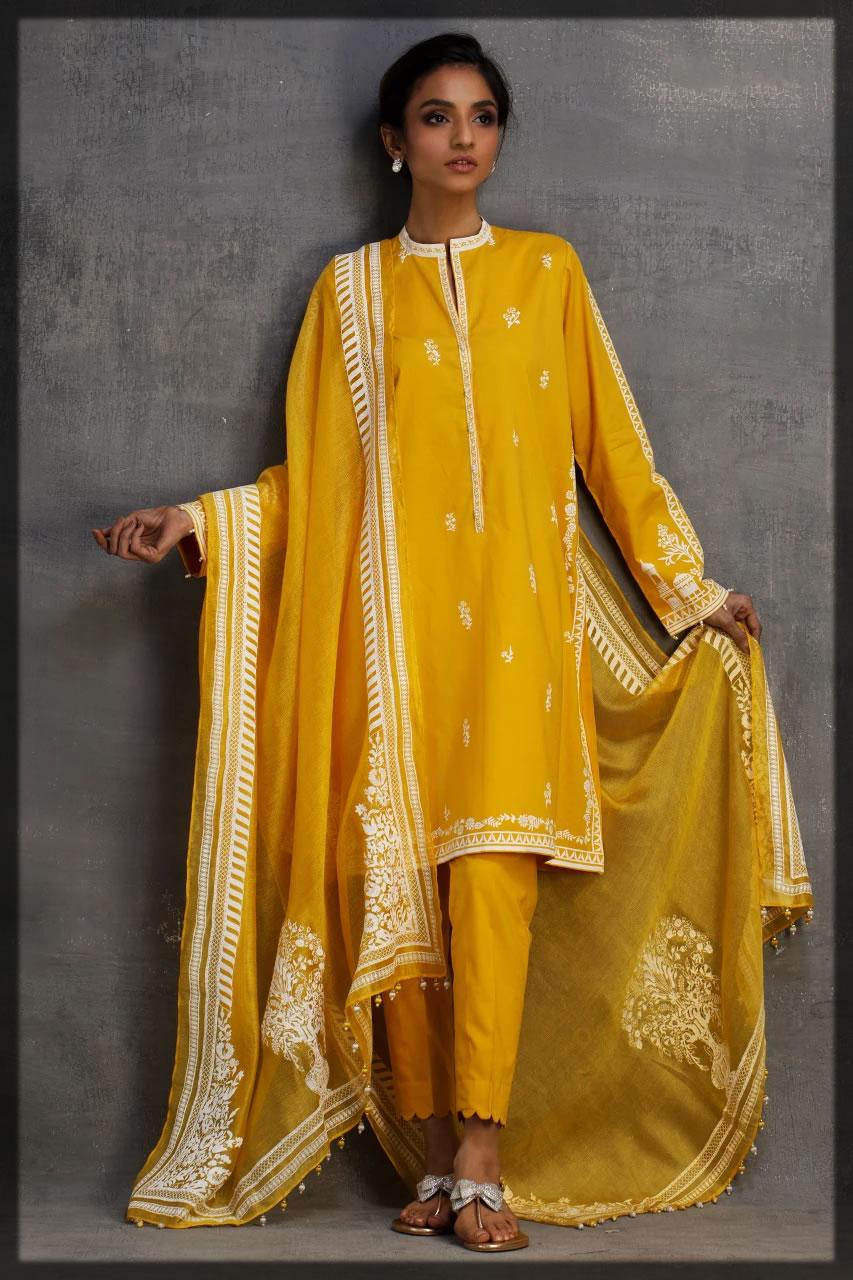 blooming sunshine yellow eid dress