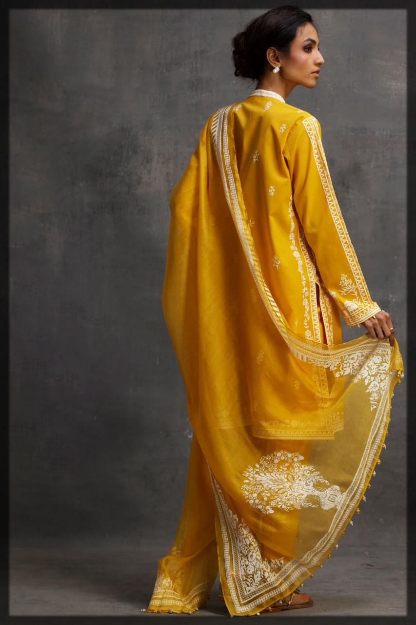 blooming sunshine yellow graceful eid dress