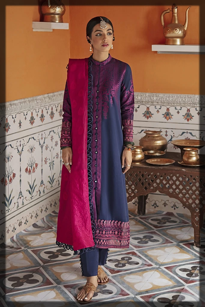 blue and pink eid dress