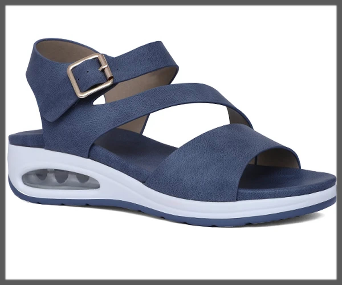 blue strapped sandals for women