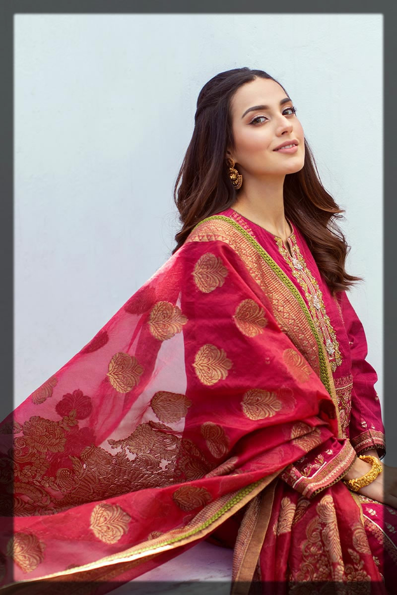 bright maroon lawn embroidered suit