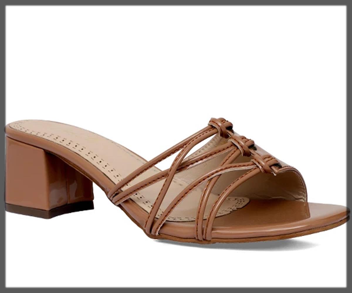 brown open back block heels