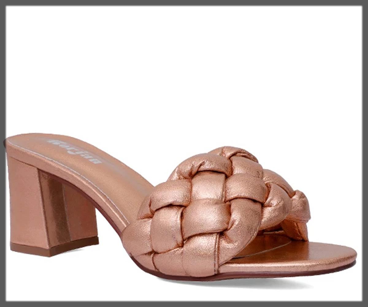 brownish peach open back heels