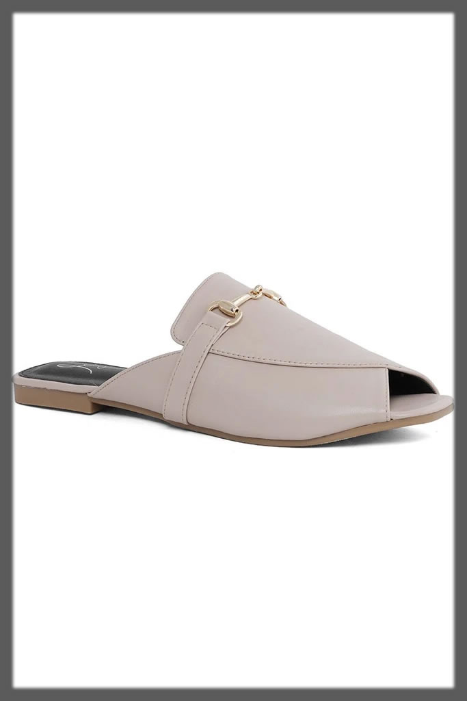 casual back open grey shoes
