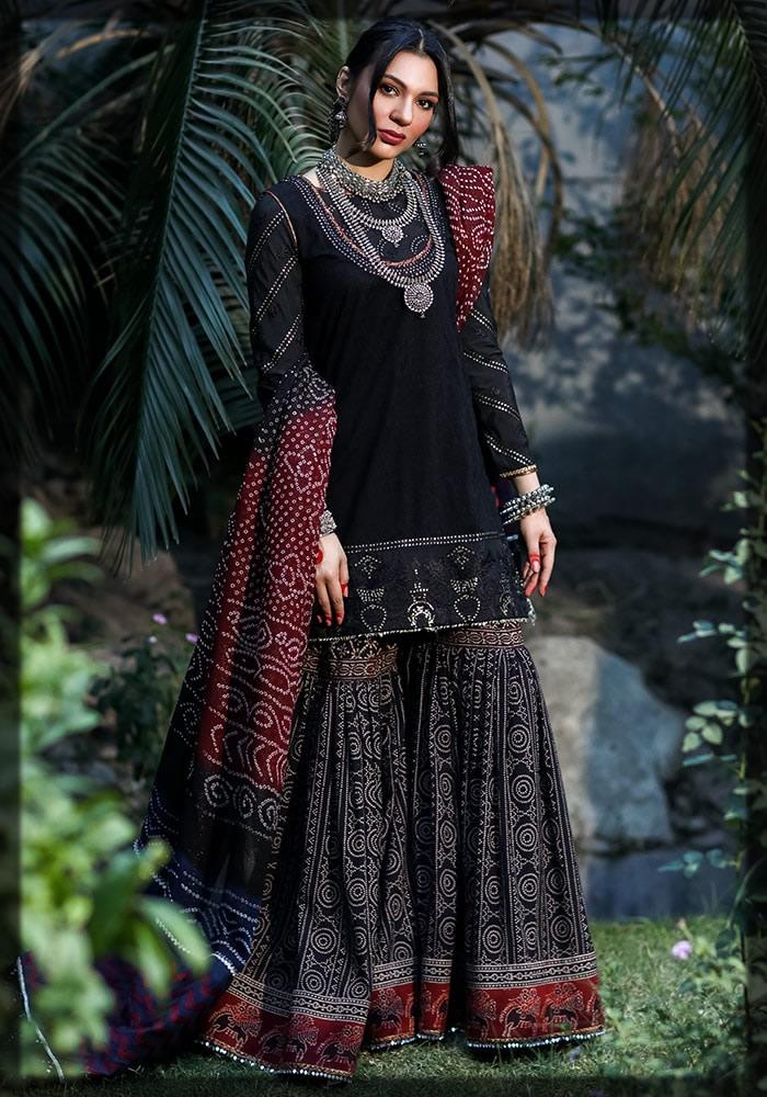 classic black gharara dress for eid