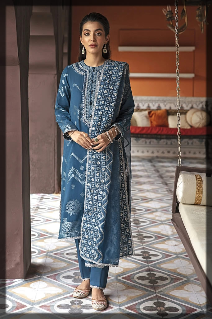 classic blue embroidered jacquard suit