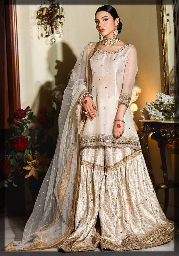 classic ivory gharara dress for eid