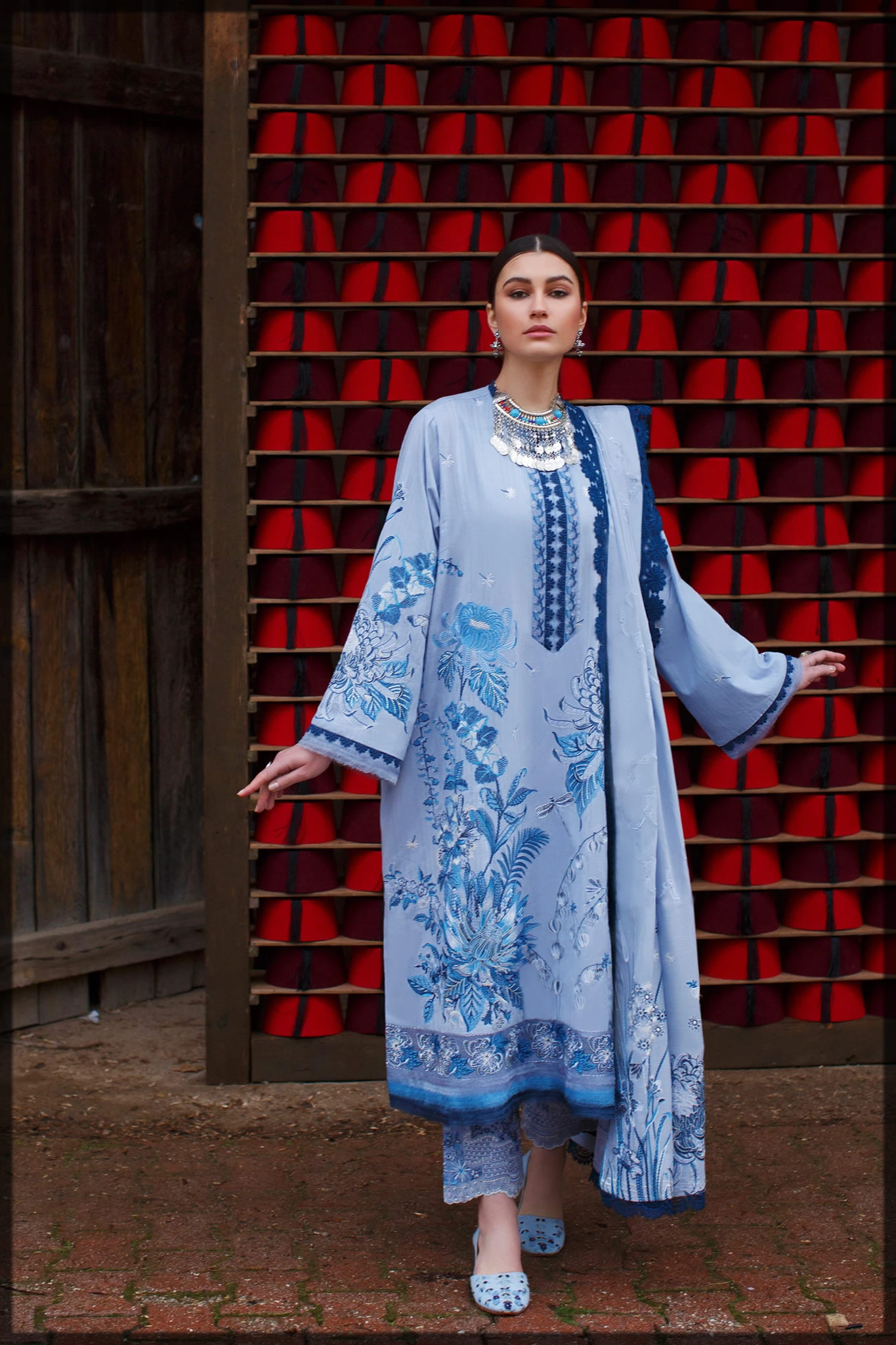 classic wedgewood blue embroidered dress