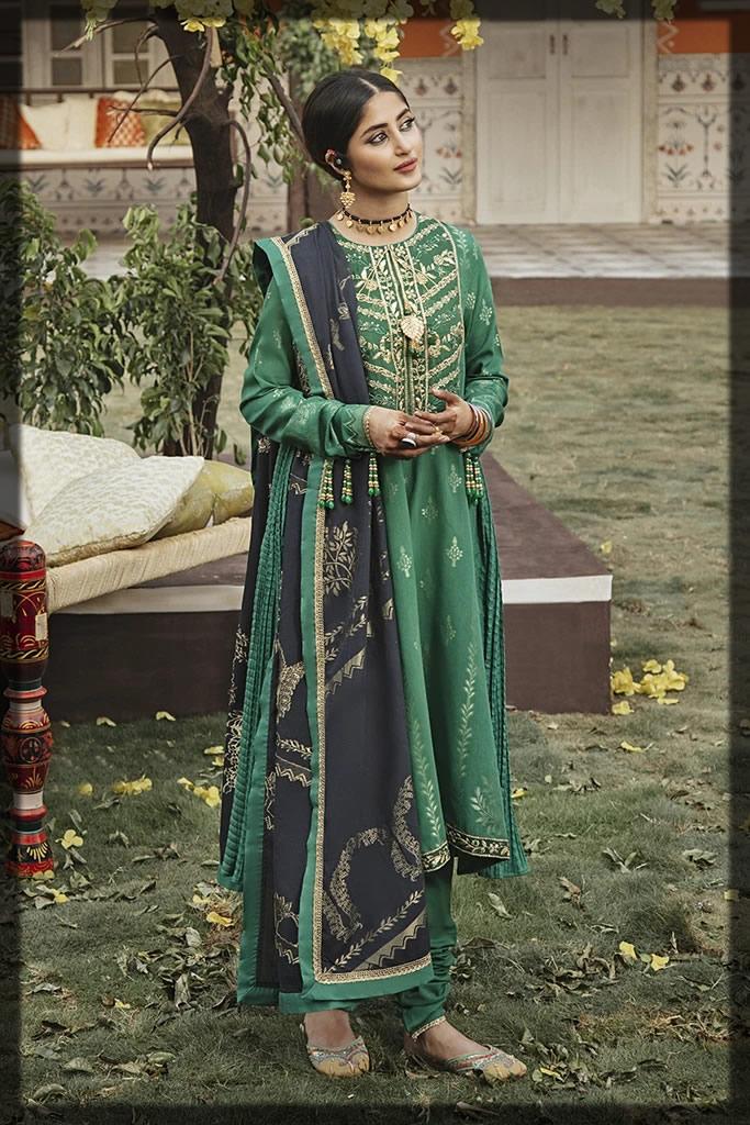 dark green jacquard dress
