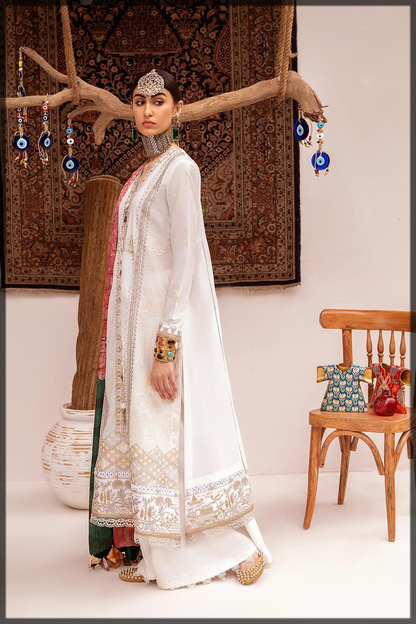 elegant white embroidered suit