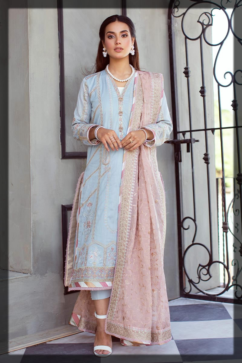 embroidered light blue dobby lawn suit