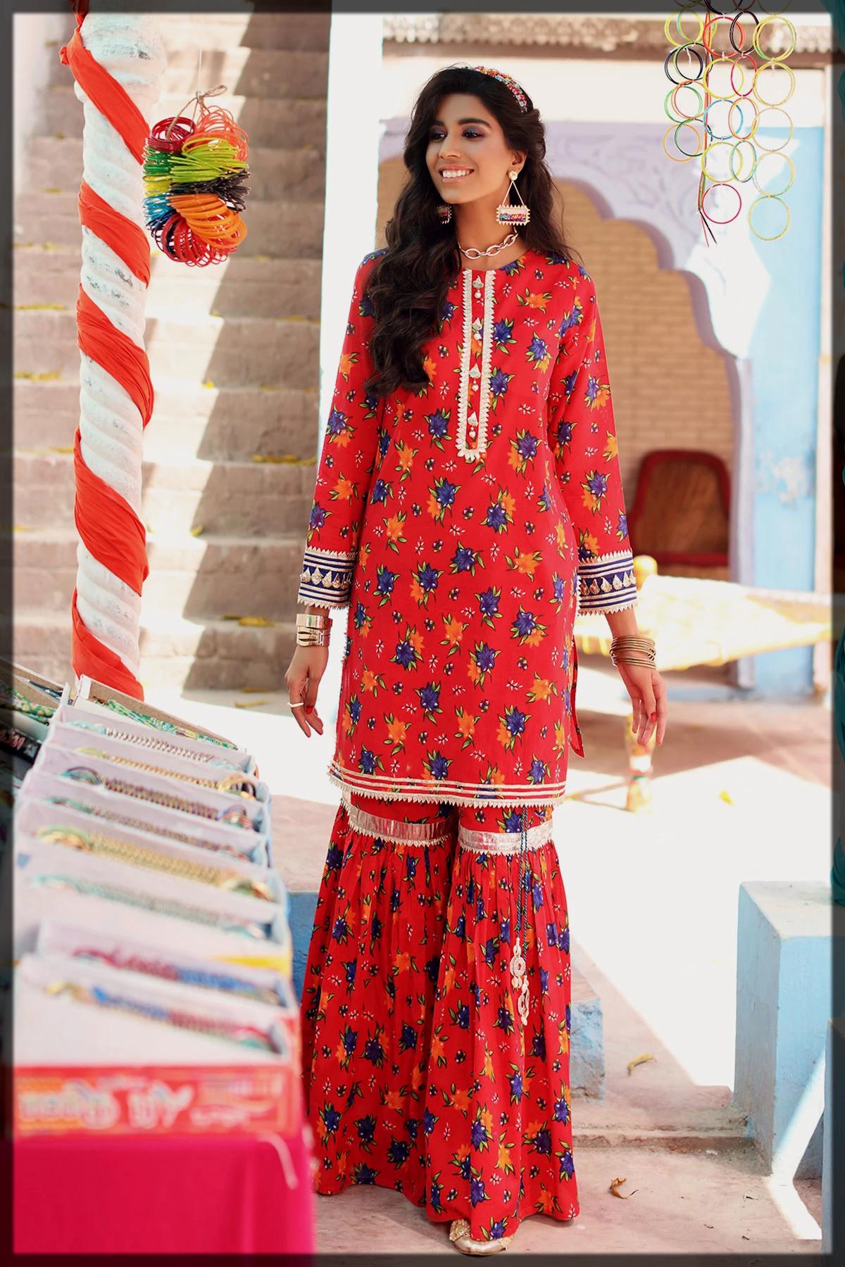 floral printed summer eid suit