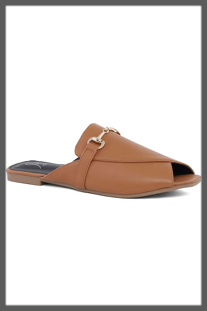 formal brown open back shoes