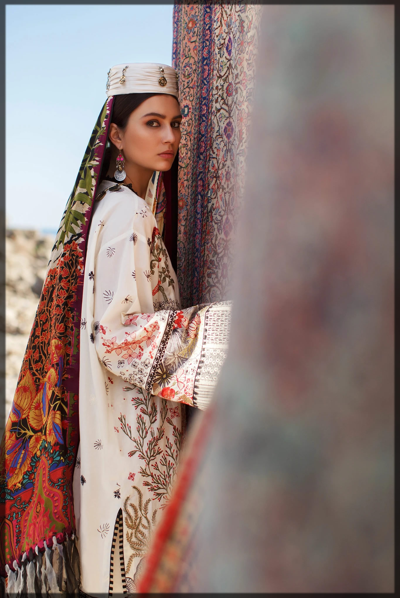 graceful ivory embroidered lawn dress